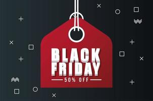 black friday sale banner with red tag hanging vector