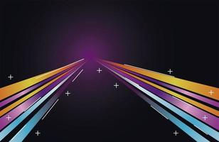 colorful light trail in blue with yellow and purple colors vector