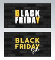black friday sale banner with letterings in walls vector