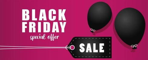 black friday sale banner with tag and balloons vector
