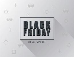 black friday sale banner with lettering in square frame