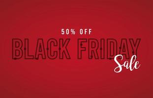 black friday sale banner with lettering in red background vector