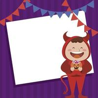 happy halloween party with little devil and garlands vector