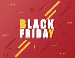 black friday sale banner with isometric lettering in red background vector