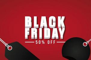 black friday sale banner with isometric lettering and tags hanging vector