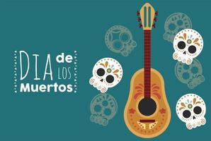 dia de los muertos poster with heads skulls and guitar vector