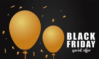 black friday sale lettering banner with golden balloons in black background vector