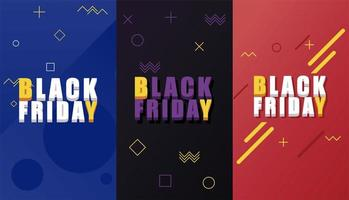 black friday sale banner with isometric letterings and colors background vector