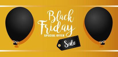 black friday sale lettering banner with balloons in yellow background vector