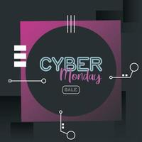 cyber monday sale poster with circular frame vector