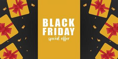 black friday sale banner with golden gifts vector
