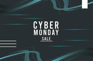cyber monday sale poster with blue trails vector