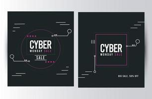 cyber monday sale posters with square frames vector