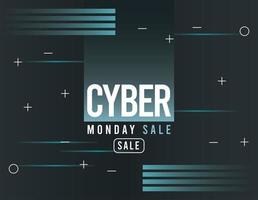 cyber monday sale poster in blue background vector