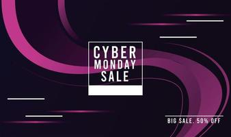 cyber monday sale poster with square frame vector