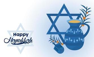 happy hanukkah celebration with jewish star and teapot vector