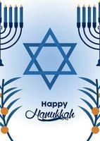 happy hanukkah celebration with jewish star and candelabrums vector