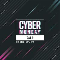 cyber monday sale poster with square frame and lines vector
