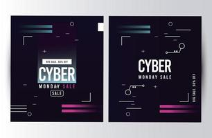 cyber monday sale posters with pink and blue lines vector