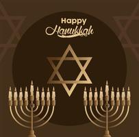 happy hanukkah celebration with candelabrums and star vector