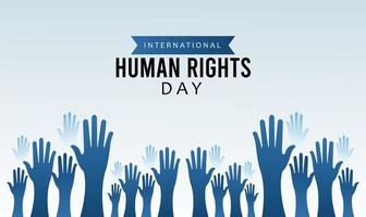 human rights day poster with hands up silhouette