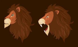cabezas de leones de perfil, iconos de colores vector