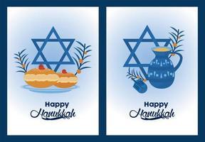 happy hanukkah celebration with jewish stars vector