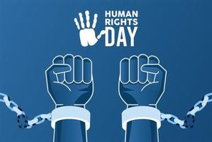 human rights day poster with hands breaking handcuffs vector