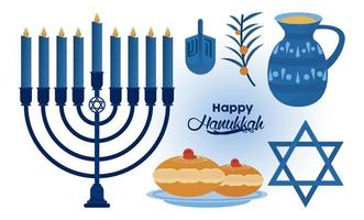 happy hanukkah celebration with candelabrum and icons vector