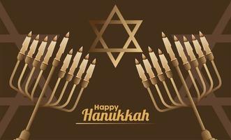 happy hanukkah celebration with candelabrums and jewish star vector