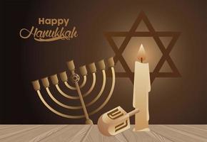 happy hanukkah celebration with candelabrum and dreidel vector