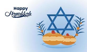 happy hanukkah celebration with jewish star and bread vector
