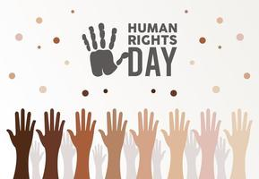 human rights day poster with interracial hands up