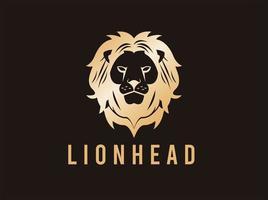 cabeza de leon dorado vector