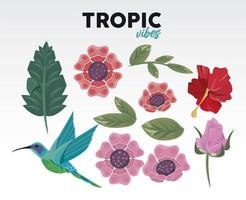 tropic vibes quote with flowers and bird vector