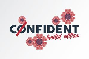 floral poster with confident word vector