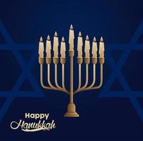 happy hanukkah celebration with candelabrum and stars vector