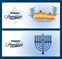 happy hanukkah celebration with blue candelabrum and food vector