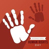 human rights day poster with hand print and shadow