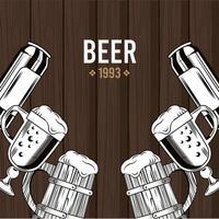 Tazas de cervezas en fondo de madera vector
