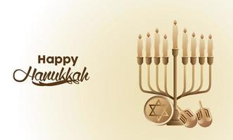happy hanukkah celebration with golden candelabrum and dreidels vector