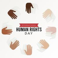 human rights day poster with interracial hands