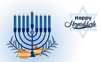 happy hanukkah celebration with candelabrum and food vector