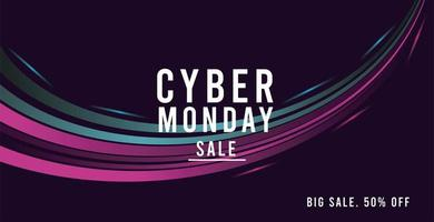 cyber monday sale poster with trails colors blue and pink vector