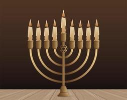 happy hanukkah celebration with candelabrum