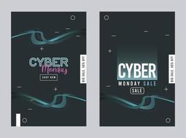 cyber monday sale posters with blue trails vector