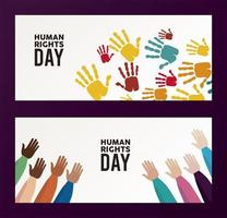 human rights day poster with hand color prints