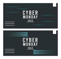 cyber monday sale posters with blue lines vector