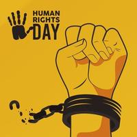 human rights day poster with hand breaking handcuffs vector