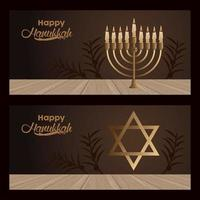 happy hanukkah celebration with candelabrum and jewish star vector